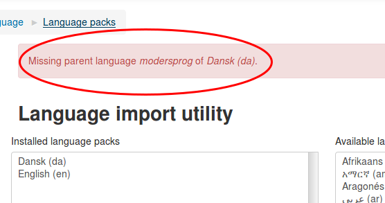 Screenshot from the language import page